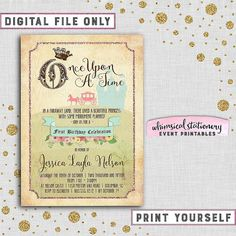 """Birthday Party Invitation """"Vintage Storybook"""" (Printable File Only) Once Upon A Time Fairy Tale Crown Mint Pink Horse Carriage Castle Fun"""