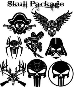 Skulls signs and Symbols (Darth, Punisher, Deer Skull and Dark Eagle skull ) illustrated in decorative view and delivered in dxf files cut ready cnc designs.