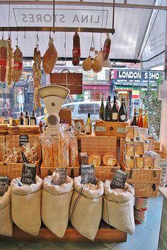 What a superb farm shop display at Lina Stores London. Deli Shop, Cafe Shop, Tante Emma Laden, Boutique Bio, Bar A Vin, Food Retail, Farm Store, Butcher Shop, Store Displays