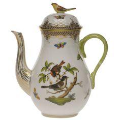 herend coffee pots | Herend Rothschild Bird Brown Coffee Pot With Bird Top