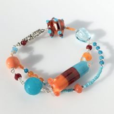 Bracelet with Handmade Lampwork Glass Beads in Turquoise, Orange & Brown ~ MadebyJaneDesign on Etsy