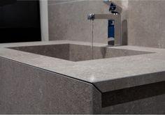 Sink made of HPL. Portland grigio, Luna finish.
