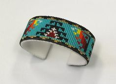 Leather handmade beaded cuff 1 Wide One size fits all Copper cuff wraped in leather Native Beadwork, Native American Beadwork, Native American Indians, Beaded Bracelet Patterns, Beading Patterns, Beading Ideas, Beaded Jewelry, Rain Dance, Dancing In The Rain
