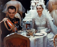 Photo by Archives du Palais Princier Monaco.  Grace Kelly and Prince Rainer of Monaco at their wedding in 1956.