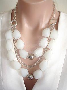 ASHIRA White Quartz and Silver Convertible Artisan Handmade Statement Necklace
