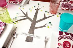 Create a family tree tablecloth for the holiday table, and use the thumbprints of family members as leaves. Thanksgiving Traditions, Holiday Traditions, Thanksgiving Ideas, Holiday Tables, Holiday Parties, Create A Family Tree, Home Made Simple, Holiday Tablecloths, Tree Table
