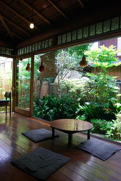 Japanese interior and garden, beautifully linked