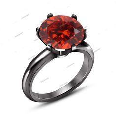 Rd 1.90CT Red Garnet Prong Sett.B/Gold FN 925 Silver Women's Traditional Ring…