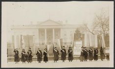 Suffragists picketing in front of the White House. Harris & Ewing. 1917.