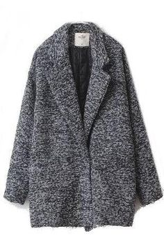 Oversized Grey Wool-blend Boyfriend Jacket Marble Cocoon Coat
