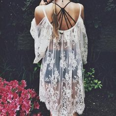 White Sheer Lace Tunic | #ustrendy www.ustrendy.com