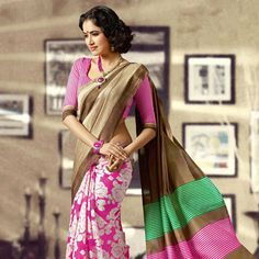 Beige and #Pink Art #Silk #Saree with Blouse Online Shopping: SMD1325