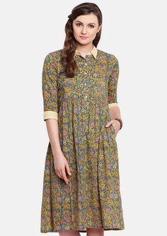 Camisa cuello está amarillo a para elegante y lucir verde Este con a Vestidos mano vestido mar hacerte estampado mano estampada en hecho ppxaqrS