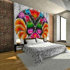 Styl Neofolk - Folk we wnętrzach Polish Folk Art, Modern Interior, Interior Design, Truck Art, Wall Decor, Wall Art, Mexican Folk Art, W 6, Colorful Furniture
