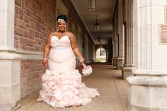 Maggie Bride Whitney wearing Divina in blush by Maggie Sottero Crystal Wedding Dresses, Plus Size Wedding Gowns, Great Gatsby Wedding, Glamorous Wedding, Plus Size Brides, Maggie Sottero Wedding Dresses, Look Plus, Dream Dress, Strapless Dress Formal