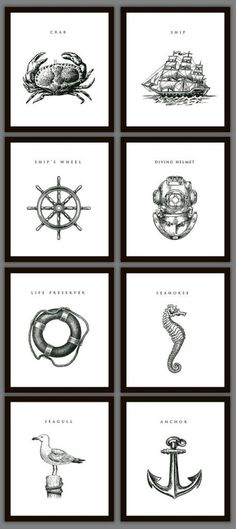 (Masculine) Nautical Style - print from your own printer and go to Dollar Store for simple black frames