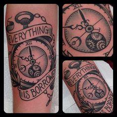 Matt Houston - Tattooist in Vancouver (Gastown Tattoo Parlour)   Everything is borrowed compass tattoo #matthouston #GastownTattoo #compasstattoo
