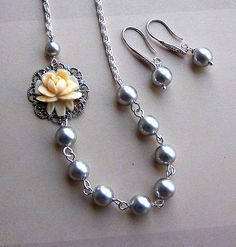 Bridesmaids Necklace and Earring Set  Swarovski  by lecollezione, $44.00