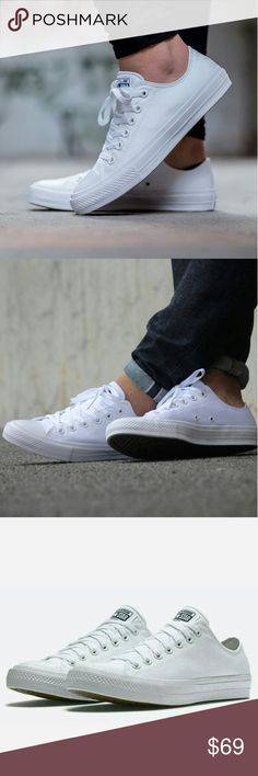 NWT Converse Chuck II 2 Low Top White Lunarlon - New in box! - Great Spring neutral for everyday use! - Converse Chuck Taylor II with Lunarlon insoles for extra comfort - Size: Women's size listed - Fit: True to size Converse Shoes Sneakers