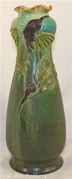 Ephraim Faience Pottery Hummingbirds Experimental Vase