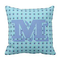 #monogrammed - #Monogrammed Cute Blue Circles Pillow for Girls