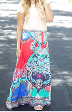 Sneak in one last bold maxi skirt before the weather starts to get chilly!