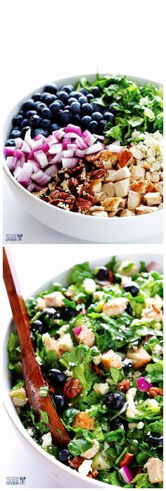 Blueberry Chicken Chopped Salad Salad 2 boneless, skinless chicken breasts Salt and pepper 1 tablespoon olive oil Salad Bar, Side Salad, Soup And Salad, Dessert Banana Split, Blueberry Chicken, Blueberry Salad, Clean Eating, Healthy Eating, Rabbit Food