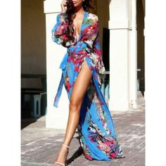 Long floral wrap dresses for summer - Google Search