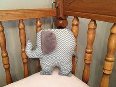 Gray chevron elephant pillow.