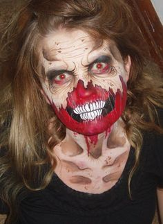 Zombie face paint Horror Makeup, Zombie Makeup, Scary Makeup, Amazing Halloween Makeup, Halloween Make Up, Halloween Face Makeup, Halloween Designs, Halloween Costumes, Monster Face Painting