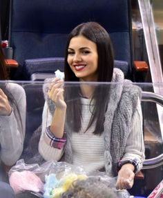 _________ Candids __________ Victoria and Madison, - New York Rangers vs Toronto Maple Leafs in NYC ... Cotton Candy Anyone?