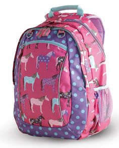 NWT HORSE Backpack Girls School Multi Color-Mare & Foal with ...