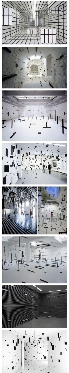 ^Esther Stocker - very graphical style when framing a space. 3D forms are used to create illusions of 2d manifestations - they highlight architectural and object features: