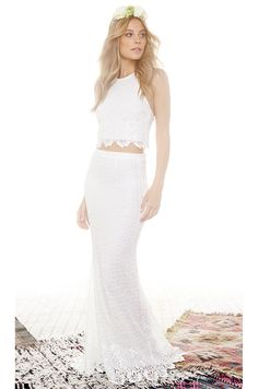 faceed25aa ALICE   OLIVIA NWT  950 Crossback Wedding White Lace Crop Top Maxi Skirt  Set 2