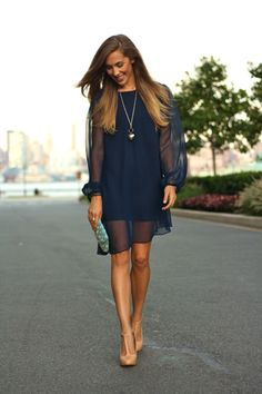 Love the sheer sleeves! Style and Pepper: Concrete Catwalk // Navy Mini