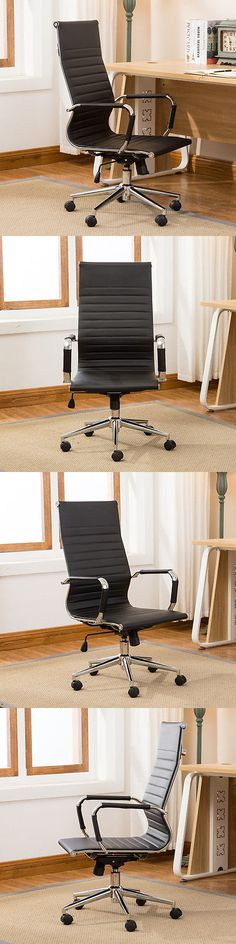 Chairs 54235: Modern High-Back Black Ribbed Upholstered Pu Leather Executive Office Desk Chair -> BUY IT NOW ONLY: $99.99 on eBay!