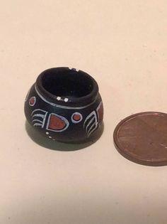 Artisan Dollhouse Miniature Native American Pottery Bowl Rainbow Hand | eBay