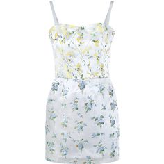 Alexander Mcqueen Sweetpea Floral Print Micro Dress found on Polyvore featuring dresses, short dresses, shiny dress, alexander mcqueen, alexander mcqueen dresses and pastel dresses