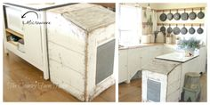 The Country Farm Home: BEFORE AND AFTER SERIES: The Farmhouse Kitchen: Hiding the microwave. #farmhousekitchen