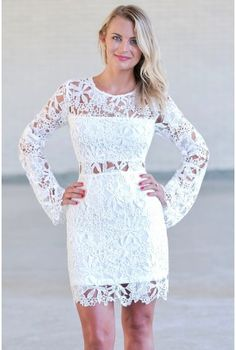 Off White Longsleeve Lace Dress, Cute Rehearsal Dinner Dress, Bridal Shower Dress