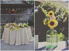 DIY Rustic Sunflower Wedding   Teal Photography   Bridal Musings {Love the floral arrangements}