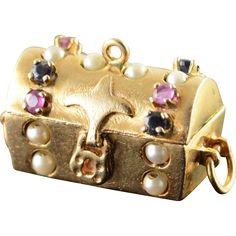 14K 1950's Gemstone Treasure Chest Hope Engagement Rings Inside Charm/Pendant Yellow Gold