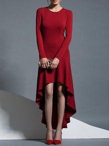 Vestido manga larga asimétrico volantes -rojo