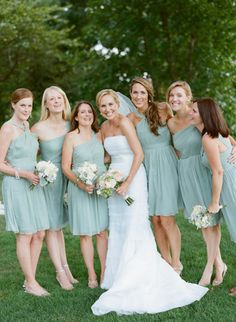 Bridesmaid dress-- sort of mix matched! 3 with girl support and 3 strapless!! Maybe we can do this? :D Except we have an extra person :)
