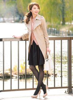 【着まわしday4】トレンチコート×ジュエルボタンカーデ×黒スカート   ファッション コーディネート   with online on ウーマンエキサイト