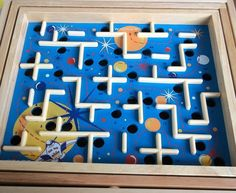 Space Ship Labyrinth Planet Maze Ball Puzzle Game Wood Balance 12 Inches #Pintoy