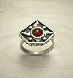 Steampunk ring,Protection sterling silver ring,Garnet ring, flame ring, geometric ring,everyday ring,modern ring,oxidized ring,sun ring