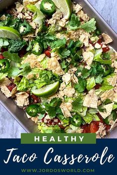Why make one taco when you can make an entire pan? Get a tasty taco casserole with this quick and easy 30-minute healthy dinner recipe! Easy Oven Recipes, Meal Recipes, Healthy Dinner Recipes, Easy Taco Casserole, Casserole Dishes, Bean Chips, Taco Ingredients, Chips And Salsa, High Protein Recipes