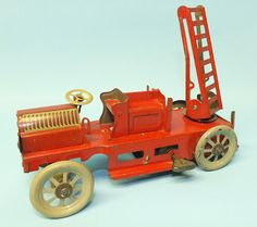 OROBR GERMAN AERIAL LADDER FIRE TRUCK MECHANICAL TIN WINDUP TOY | Toys of Times Past