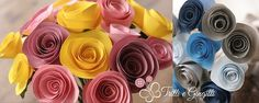 Bouquet con roselline di carta colorate. Alternative bouquet with paper roses. #bouquet #wedding